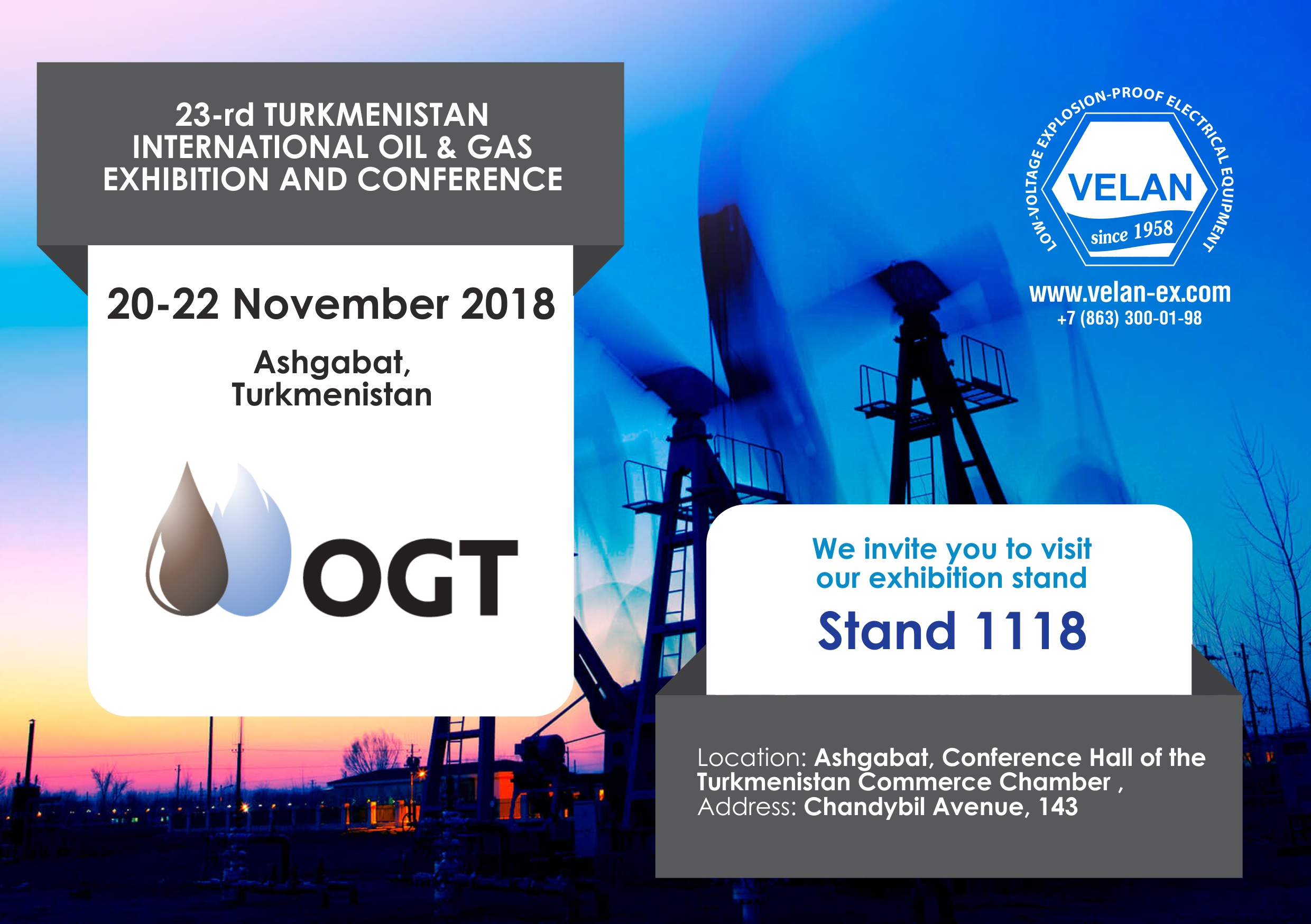"OGT 2018 - 23rd international exhibition ""Oil and Gas of Turkmenistan"""