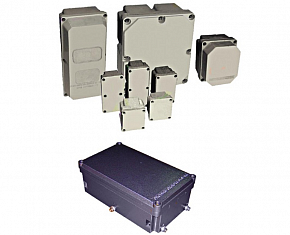 Enclosures of electrical devices OEAP made from plastic and OEAM made from aluminium alloy